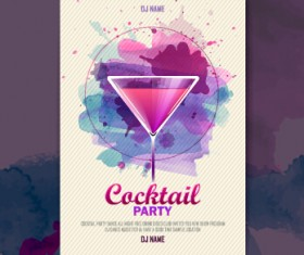 Vector cocktail party poster design graphics set 07