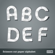 Link toVector scissors cut paper alphabet set 01