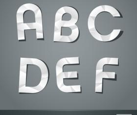 Vector scissors cut paper alphabet set 01