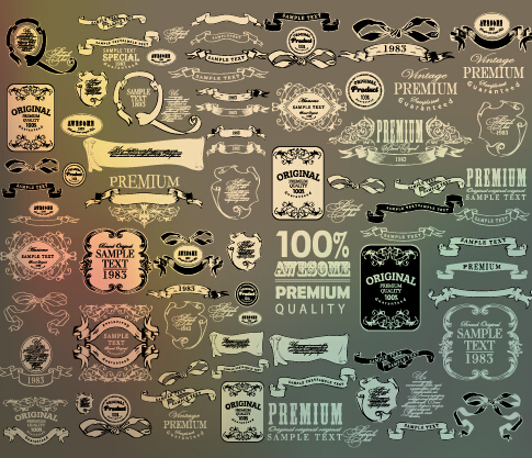 Vintage calligraphic ribbon with labels vector 02