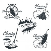 Link toVintage cleaning service labels vector 02