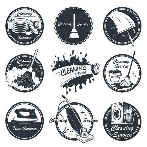 Vintage Cleaning Service Labels Vector 03 Over Millions