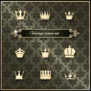 Link toVintage crown vector material set