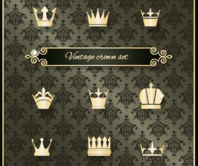 Vintage crown vector material set
