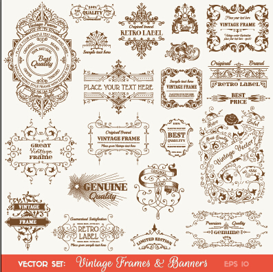 vintage deco labels and banners vector - vector banner, vector, Powerpoint templates