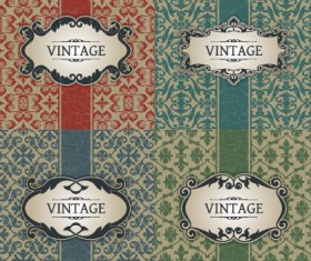Vintage frame with pattern vector background 01