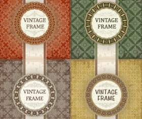Vintage frame with pattern vector background 02
