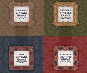 Vintage frame with pattern vector background 03
