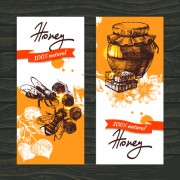 Vintage honey banner design vector 01