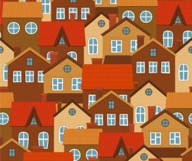 Vintage house seamless pattern vector 03