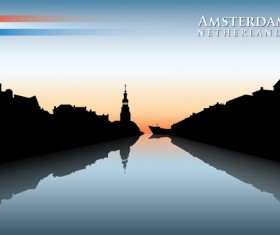 Waterfront city creative silhouette vector 01