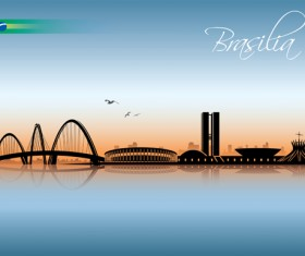 Waterfront city creative silhouette vector 03