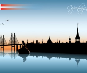 Waterfront city creative silhouette vector 04