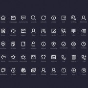 White outline system icons set