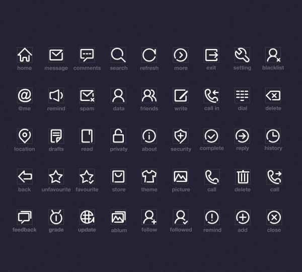 White Outline System Icons Set Free Download