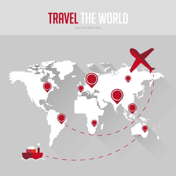 World maps with travel vector background over millions vectors world maps with travel vector background gumiabroncs Gallery