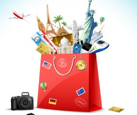 World travelling elements creative vector set 01