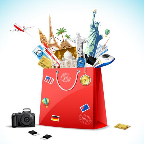 World travelling elements creative vector set 01
