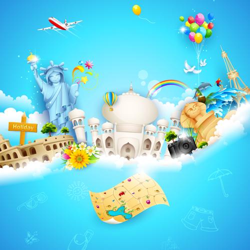 World travelling elements creative vector set 03