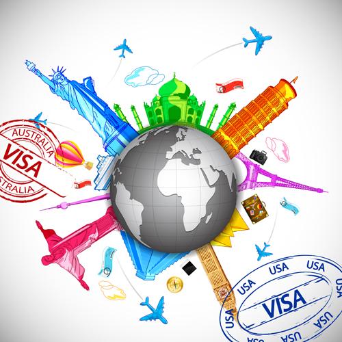 World travelling elements creative vector set 04