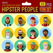 Link toHipster flat icons set vector material 01