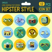 Hipster flat icons set vector material 02