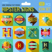 Hipster flat icons set vector material 03