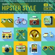 Hipster flat icons set vector material 04