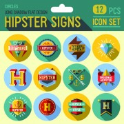 Hipster flat icons set vector material 05