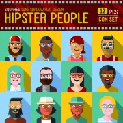 Link toHipster flat icons set vector material 06