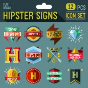 Hipster flat icons set vector material 07