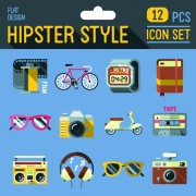 Hipster flat icons set vector material 08