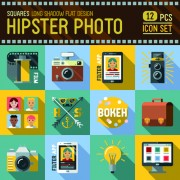 Hipster flat icons set vector material 09