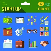 Hipster flat icons set vector material 10
