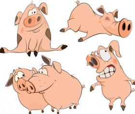 lovely pigs cartoon vector material 02