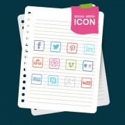Link toSocial media icons with notebook vector