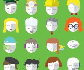 10 Kind flat head icons