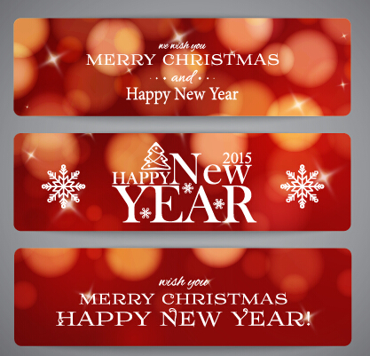 2015 New Year and Merry Christmas red banner