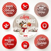 Link to2015 christmas round labels vector 02