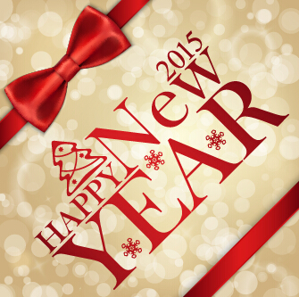 2015 new year red bow cards vector