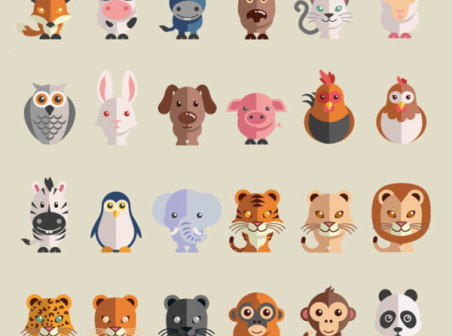 Flat animal icon vector - Animal Icons free download
