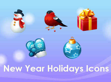 New Year Holidays icons