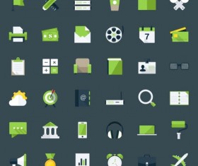 60 Kind flat green app icons