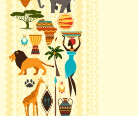 African nature elements background vector