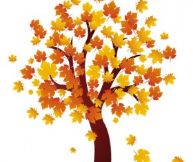 Art autumn tree creative background vector 04