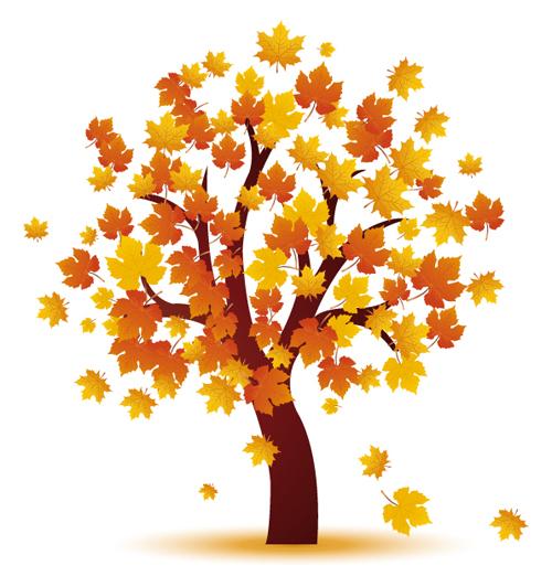 Art autumn tree creative background vector 04