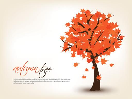 Art autumn tree creative background vector 06