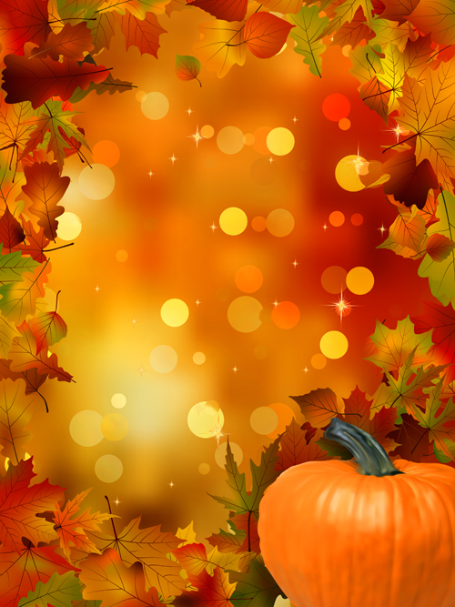 Autumn leaves and pumpkins halation background vector over autumn leaves and pumpkins halation background vector toneelgroepblik Gallery