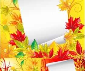 Autumn leaves with white paper background vector