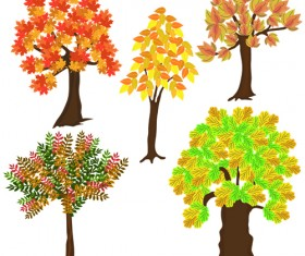 Autumn tree icons material vector 01